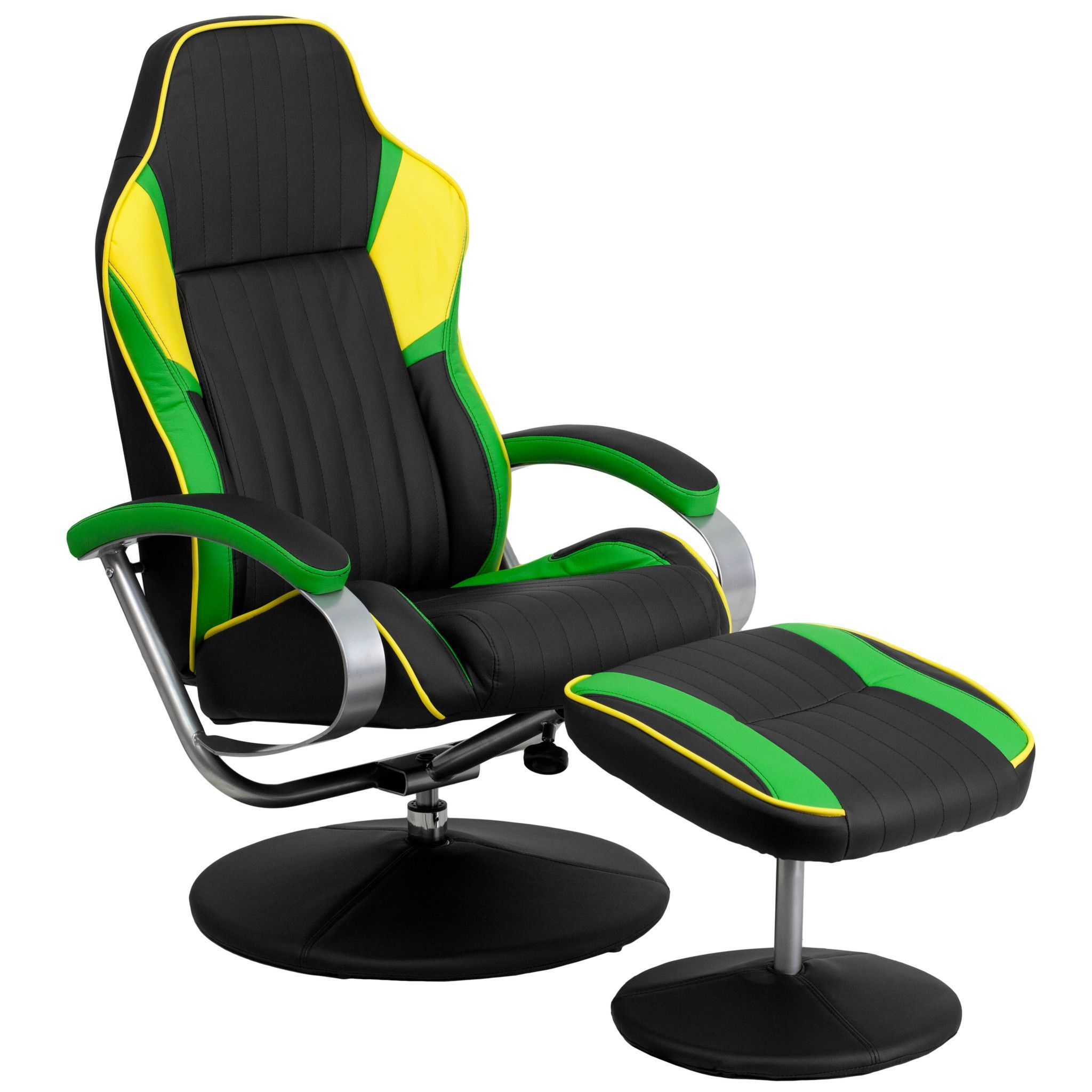 Racing Style Black Green and Yellow Vinyl Recliner and Ottoman CH