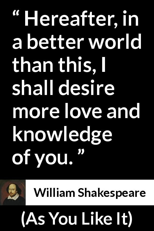 """William Shakespeare about love (""""As You Like It"""", 1623"""