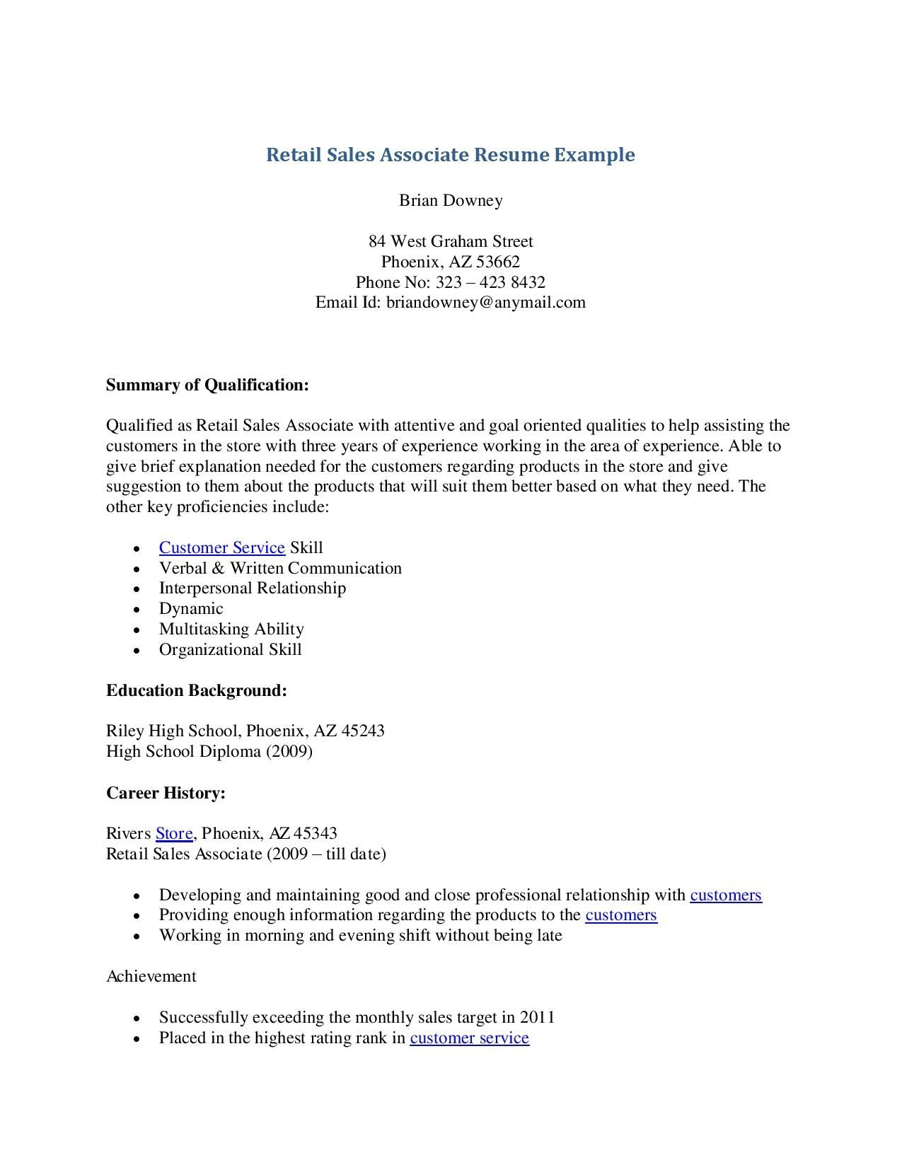 Experience Retail Resume Sample Sales Associate Examples Hostess