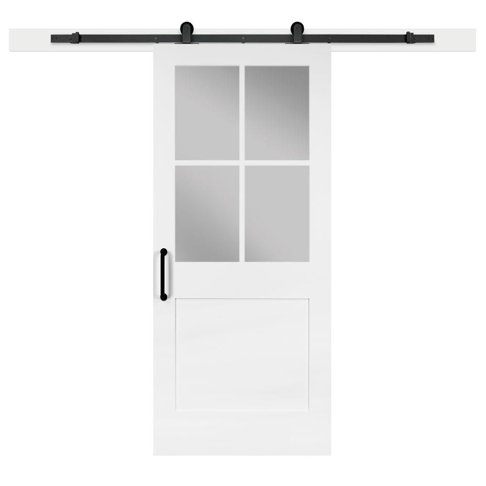 Jeff Lewis 36 In X 84 In White Collar 1 Panel 1 2 Lite Privacy Sandblasted Glass Mdf Barn Door Interior Sliding Barn Doors Interior Barn Doors Diy Barn Door