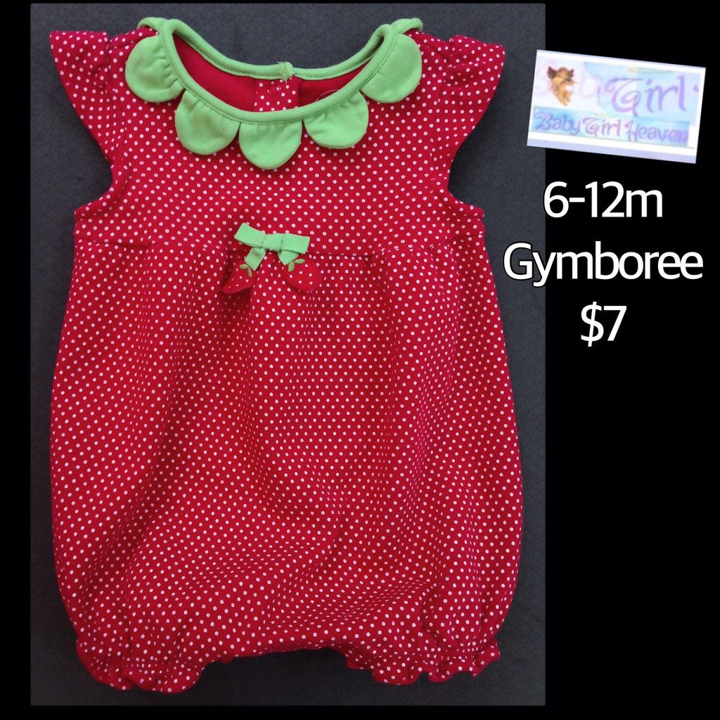 f14cf5985 Gymboree 6-12m Infant Girls Adorable Strawberry Romper  7
