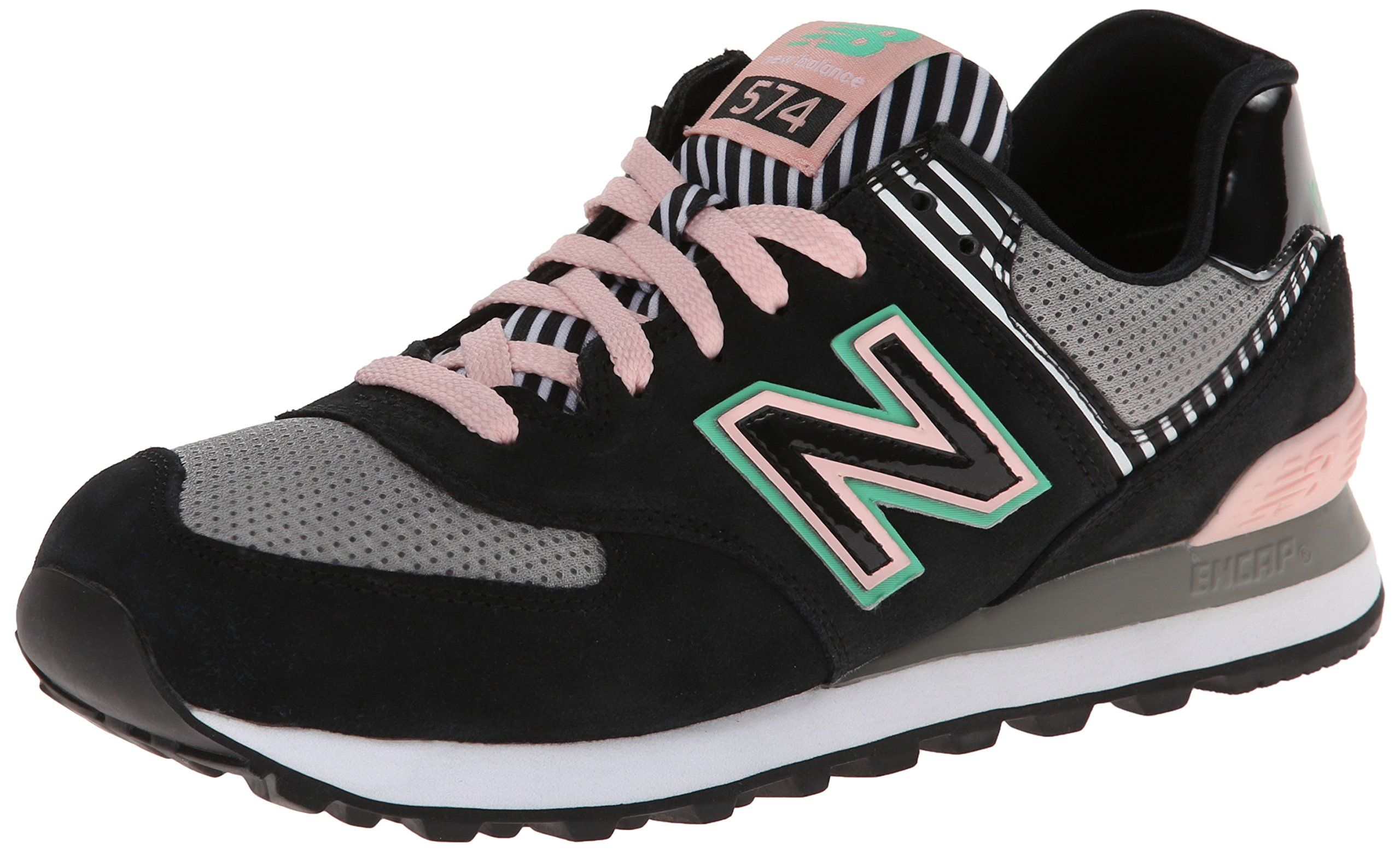 e45a36c61f1b9 New Balance Women's WL574 Pal Springs Collection Running Shoe, Black/Pink,  9 B US