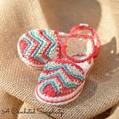 "Ravelry: ""Chasing Chevrons"" Baby Sandals pattern by Jennifer Pionk. Pattern on sale through June 27, 2015"