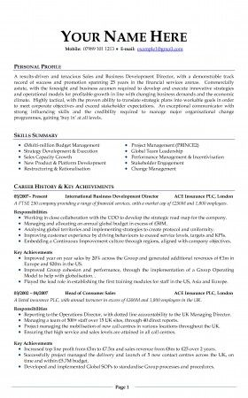 Free Curriculum Vitae Resume Template - http\/\/wwwresumecareer - sample professional resume format