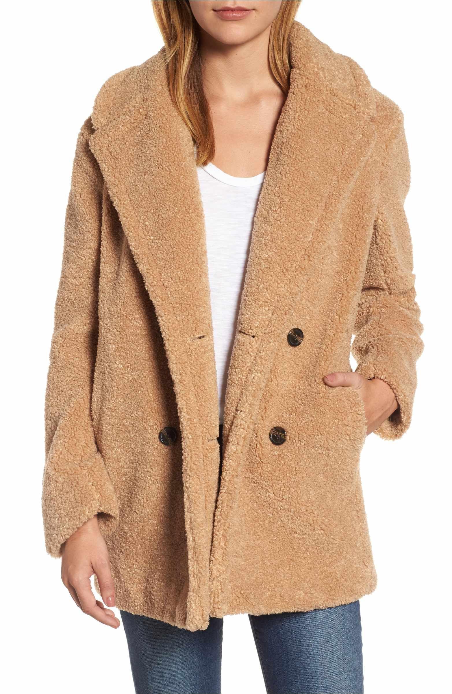 5bbd5de2568 Main Image - kensie Teddy Bear Notch Collar Faux Fur Coat size medium