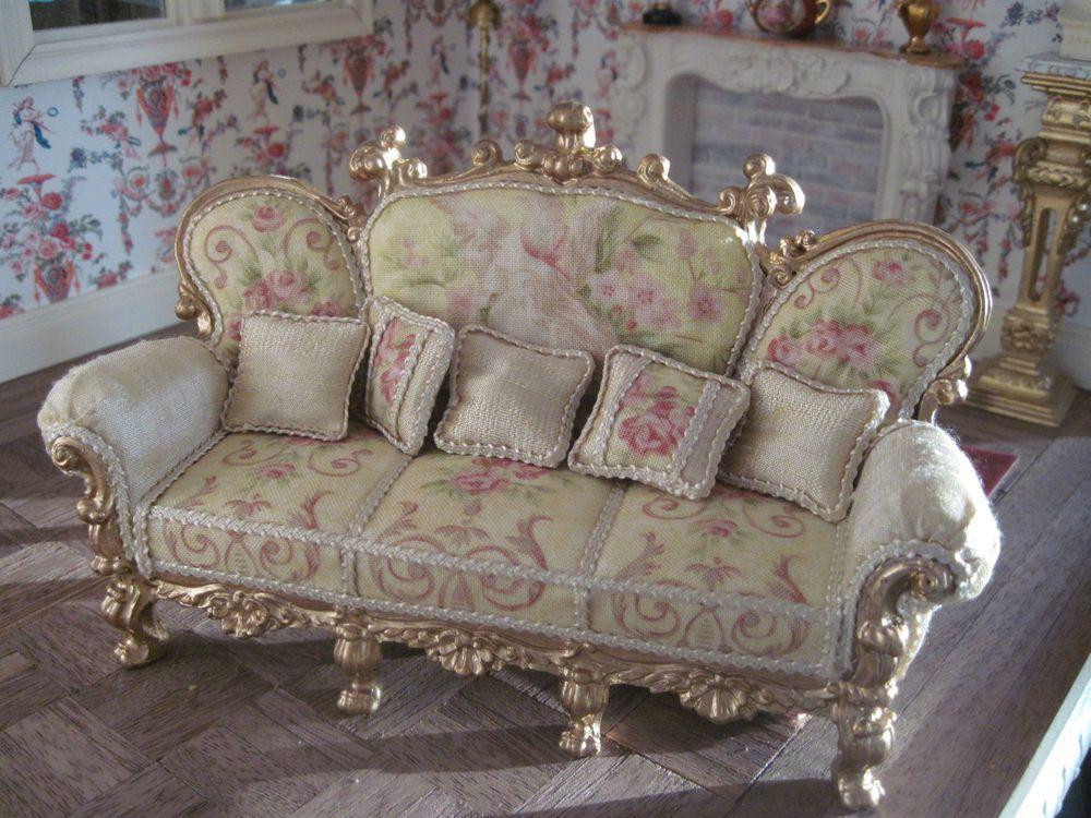 Miniature Dollhouse Ornate Sofa