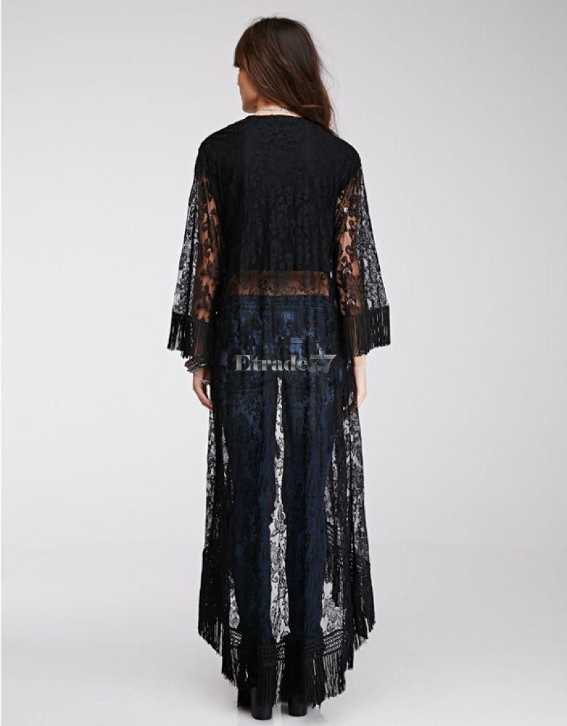 Women Lace Floral Kimono Cardigan Long Blouse Loose Sheer Boho ...