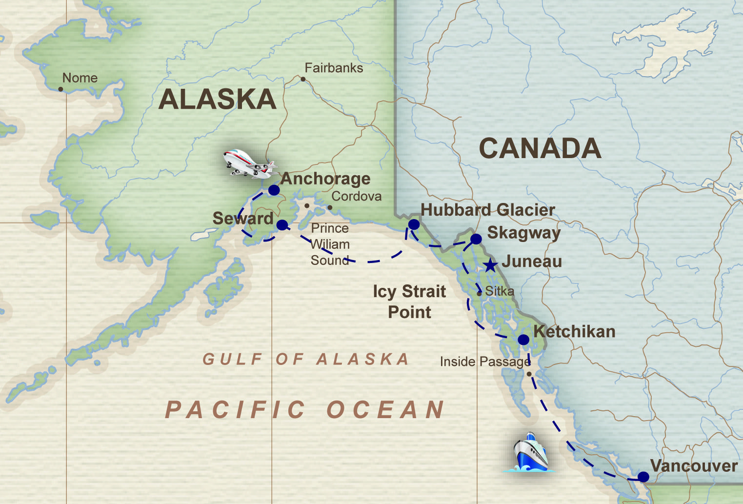 map alaska cruise vancouver - Saferbrowser Yahoo Image Search ...