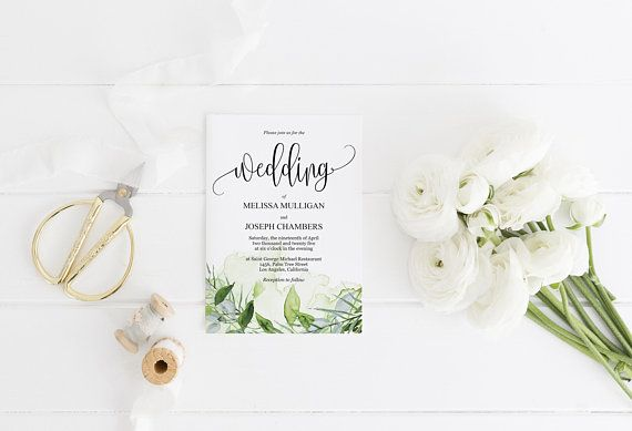 Greenery Nature Wedding Invitation Template, Printable Wedding - invitation template nature