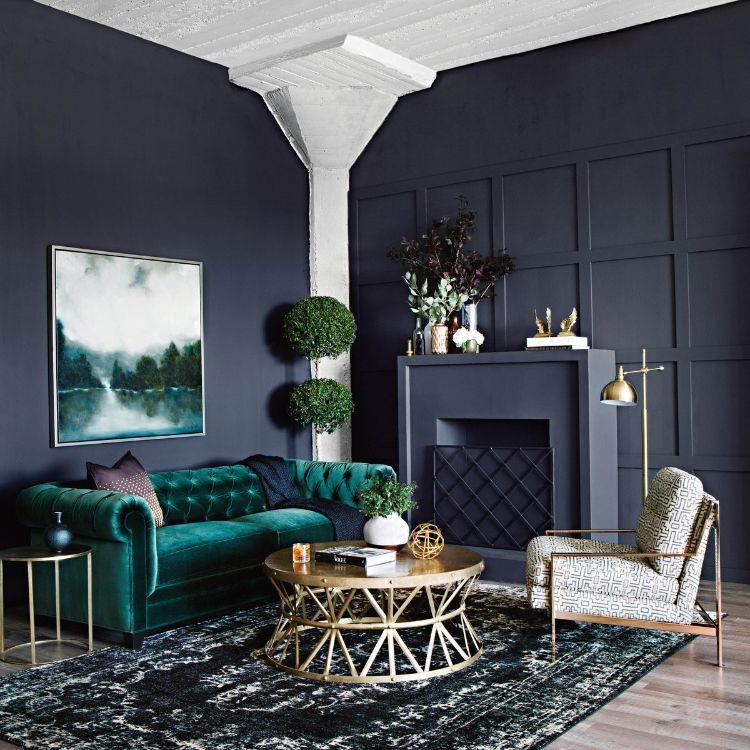 Farbkombination Grun Grau Gold Wohnzimmer Einrichten Interiordesign