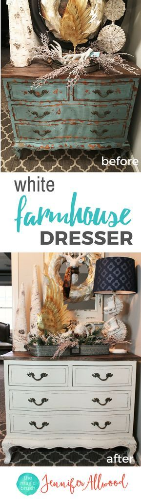 Info's : Painted White Dresser | How to paint white distressed farmhouse furniture | Magic Brush | Furniture Makeover Ideas | How to paint white furniture | Get a farmhouse stye