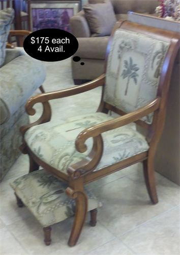 Miraculous Sturdy Wood Armed Chairs With Custom Tommy Bahama Style Palm Caraccident5 Cool Chair Designs And Ideas Caraccident5Info