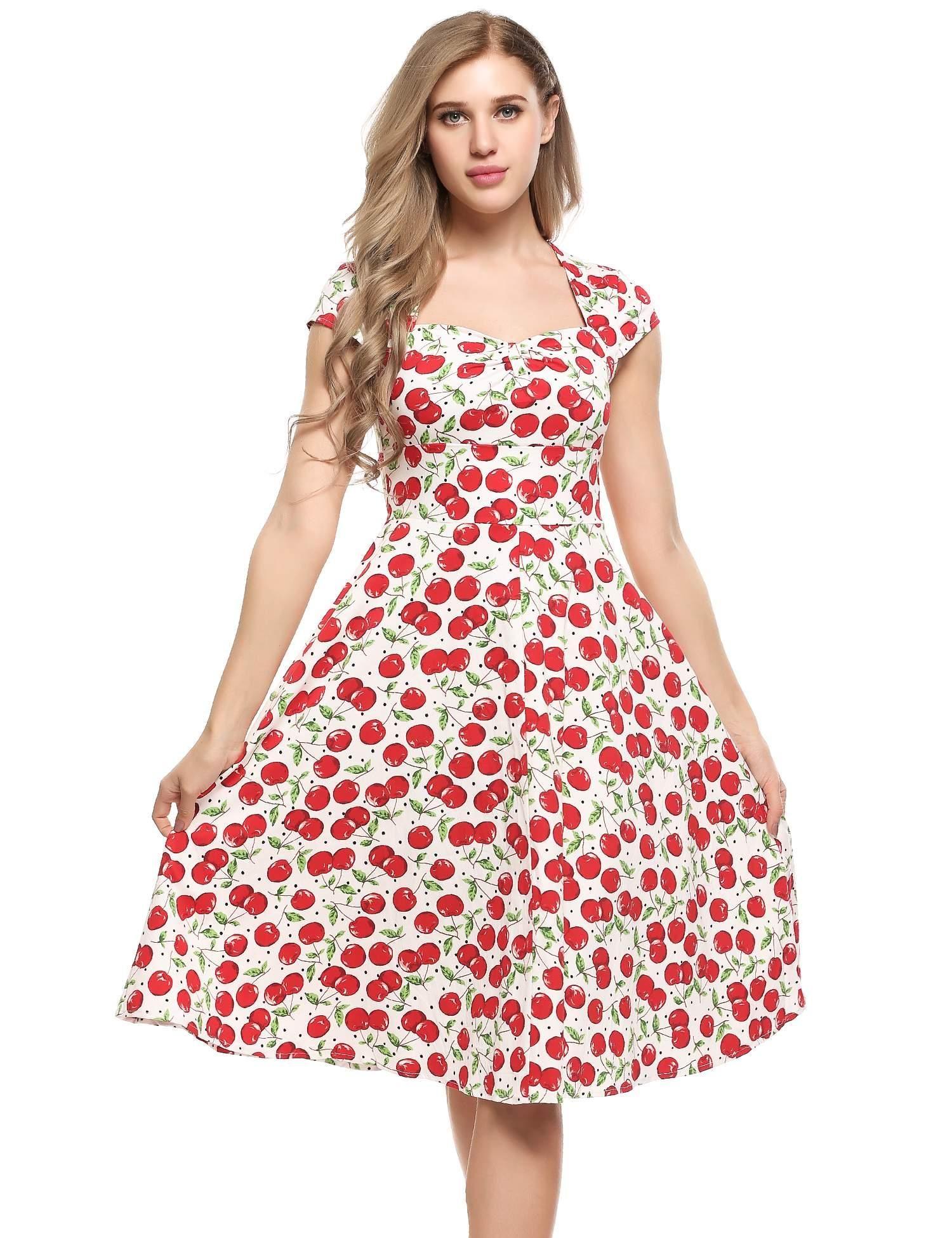 Blanco rojo Mujeres Vintage Estilos V-cuello Cap Sleeve Impresiones ...