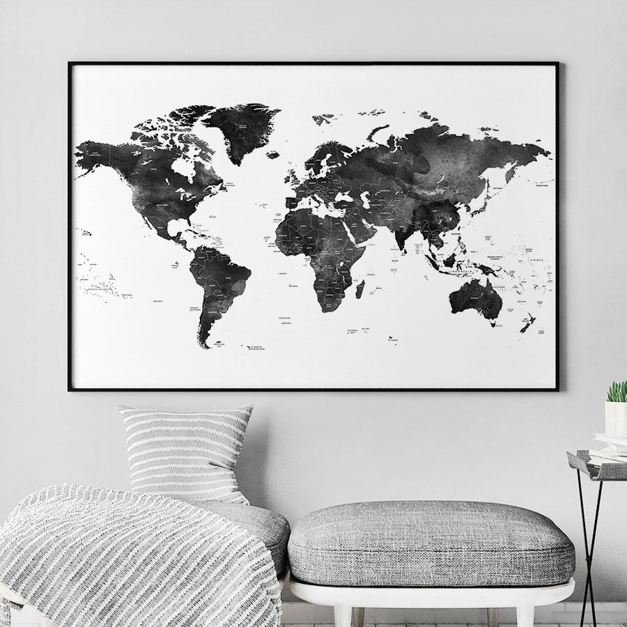 World map poster black and white world map world map wall art etsy shop world map art black and white world map artprintsvicky https gumiabroncs Image collections