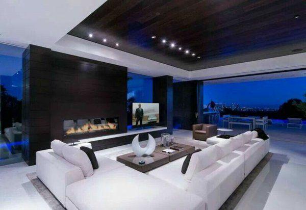 modernes interior design schwarze decke kamin home Pinterest - wohnzimmer luxus design