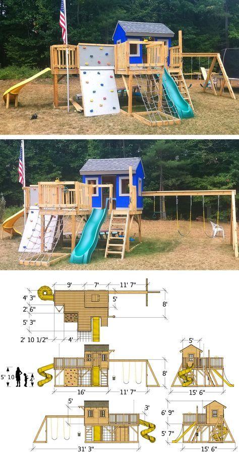 Playground Playhouse Plan 2 Sizes Module De Jeux Exterieur