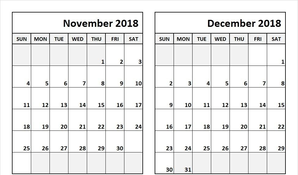 Get 2018 November December Calendar Pdf Word Excel Download