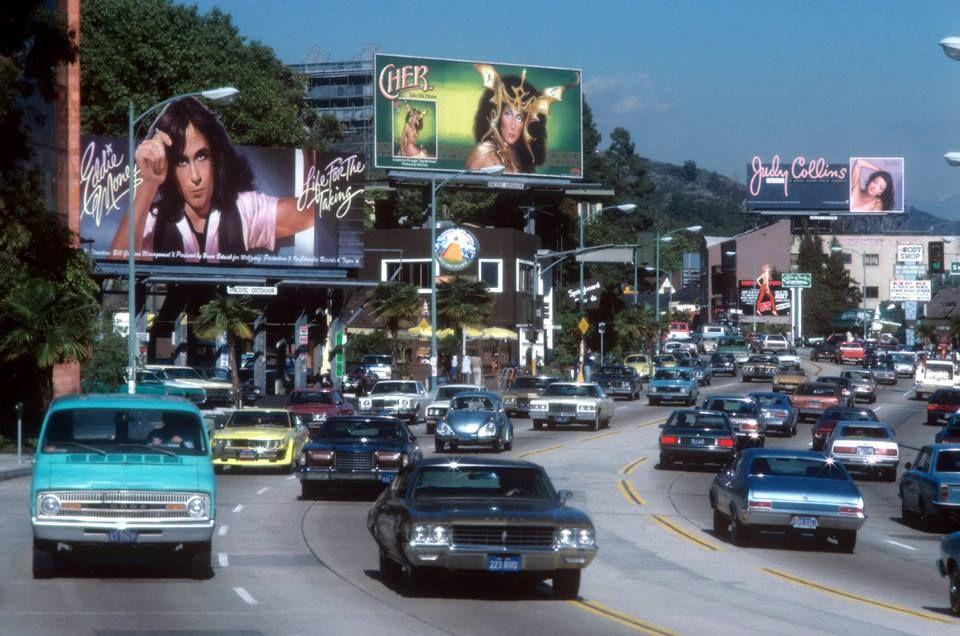 Sunset Boulevard 1979 Retro La Hollywood Seventies Cher Billboard Classic Blvd Sunset Sunset Strip Vintage Los Angeles Los Angeles