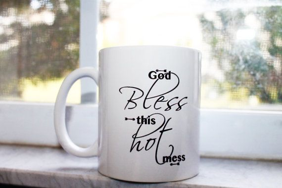 DESIGN BY SO SHE DID DESIGN® God Bless This Hot Mess Coffee Mug | Gift For Her, Sister, Friend | Quotes Cup | Arrows | 11 Oz. Ceramic | Hot | Coffee Addict