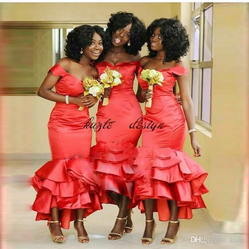 African Mermaid Bridesmaids Dresses 2018 Off Shoulder Plus Size Tea Length  Maid Of Honors Dresses Ruffles 695f4fc6bef5