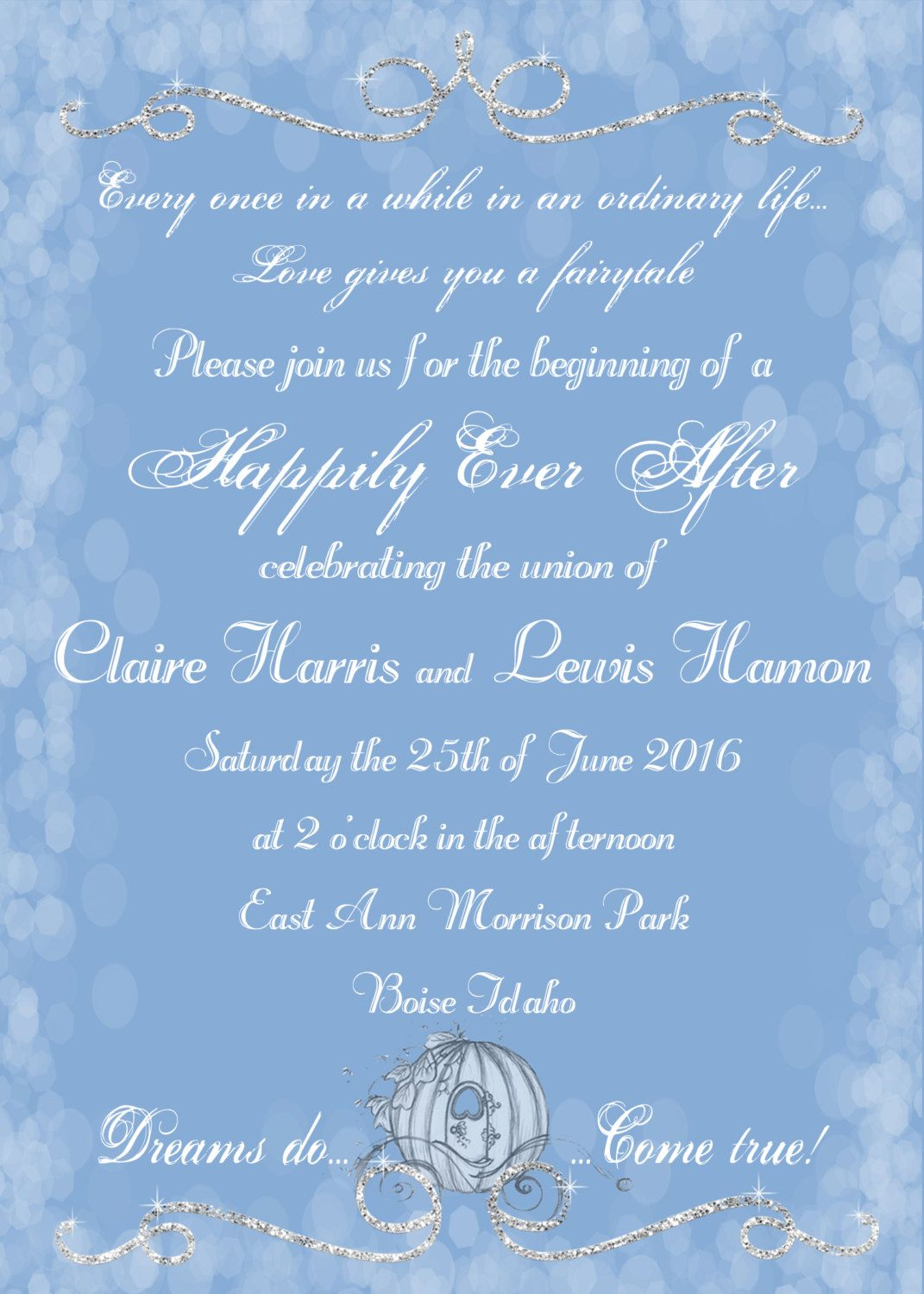 Cinderella Wedding Invitation, Fairytale Wedding Invitation ...