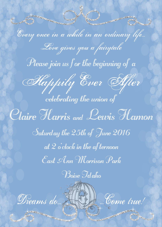 Cinderella Wedding Invitation, Fairytale Wedding