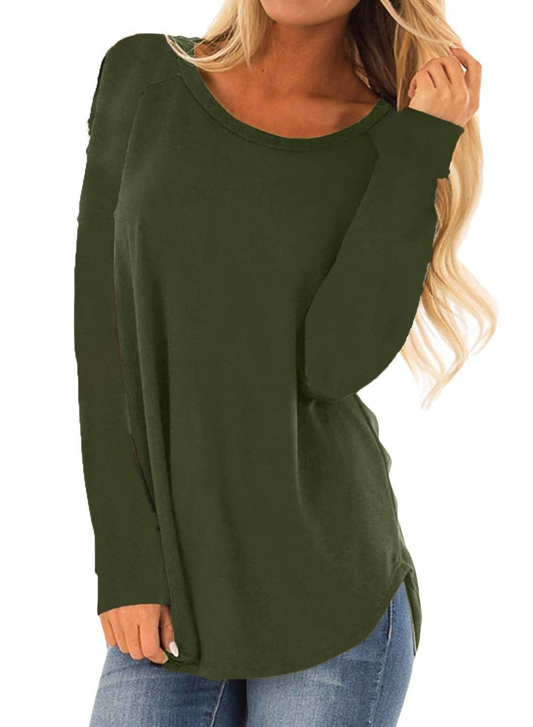 e8a70a09a77 MISSLOOK Women s Long Sleeve Shirts Basic Tee Tops High Low Loose Crew Neck  Casual Tunic price