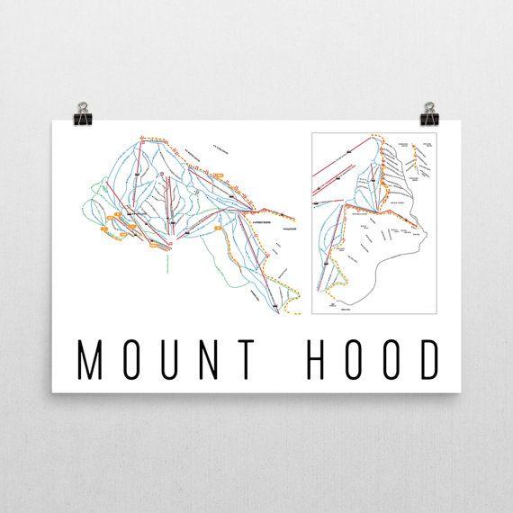 Mount Hood Ski Map Art, Mount Hood OR, Mount Hood Trail Map, Mount Hood Ski Resort Print, Mount Hood Poster, Mount Hood Resort, Art, Gift