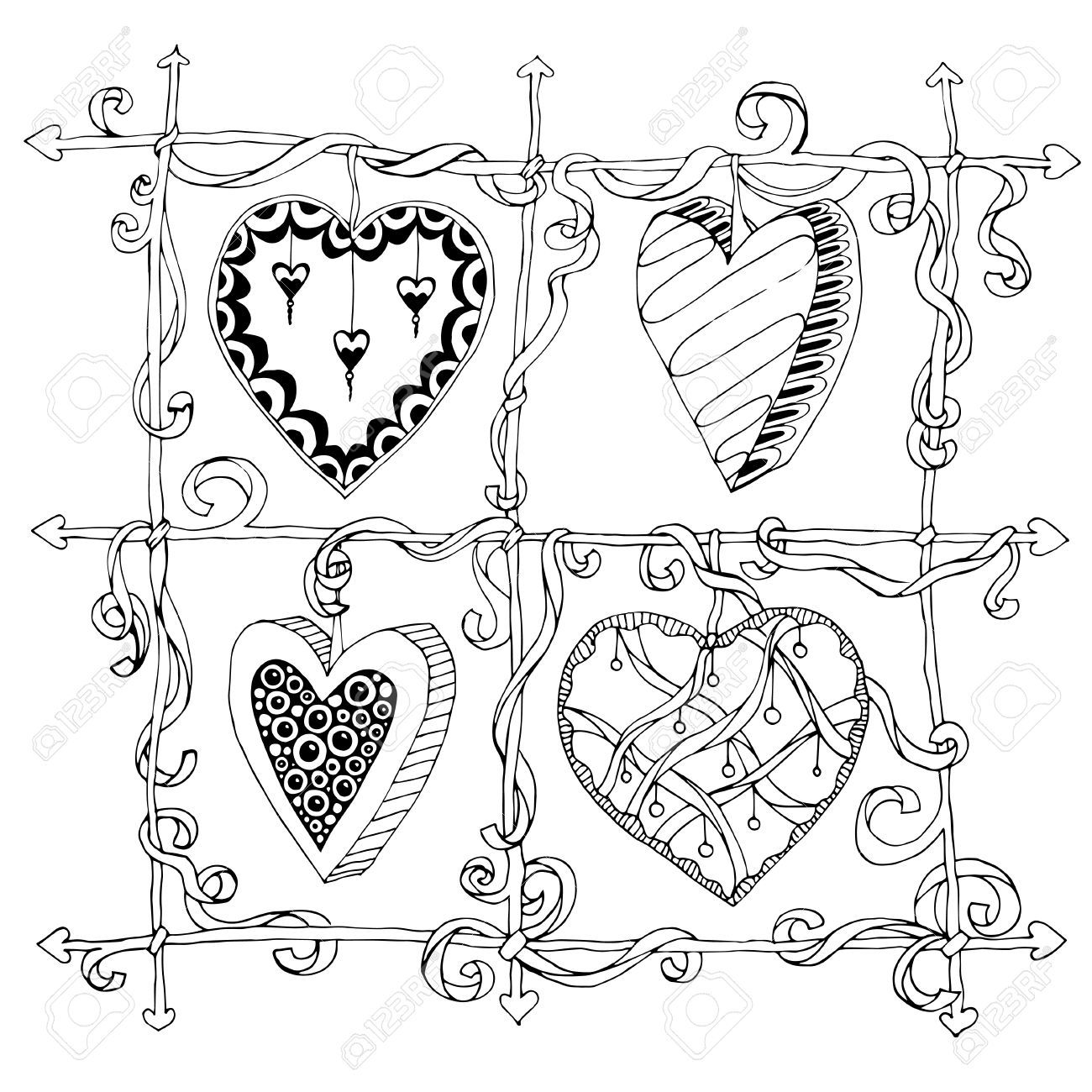 valentine\'s day zentangle: Original drawing doodle hearts. Template ...