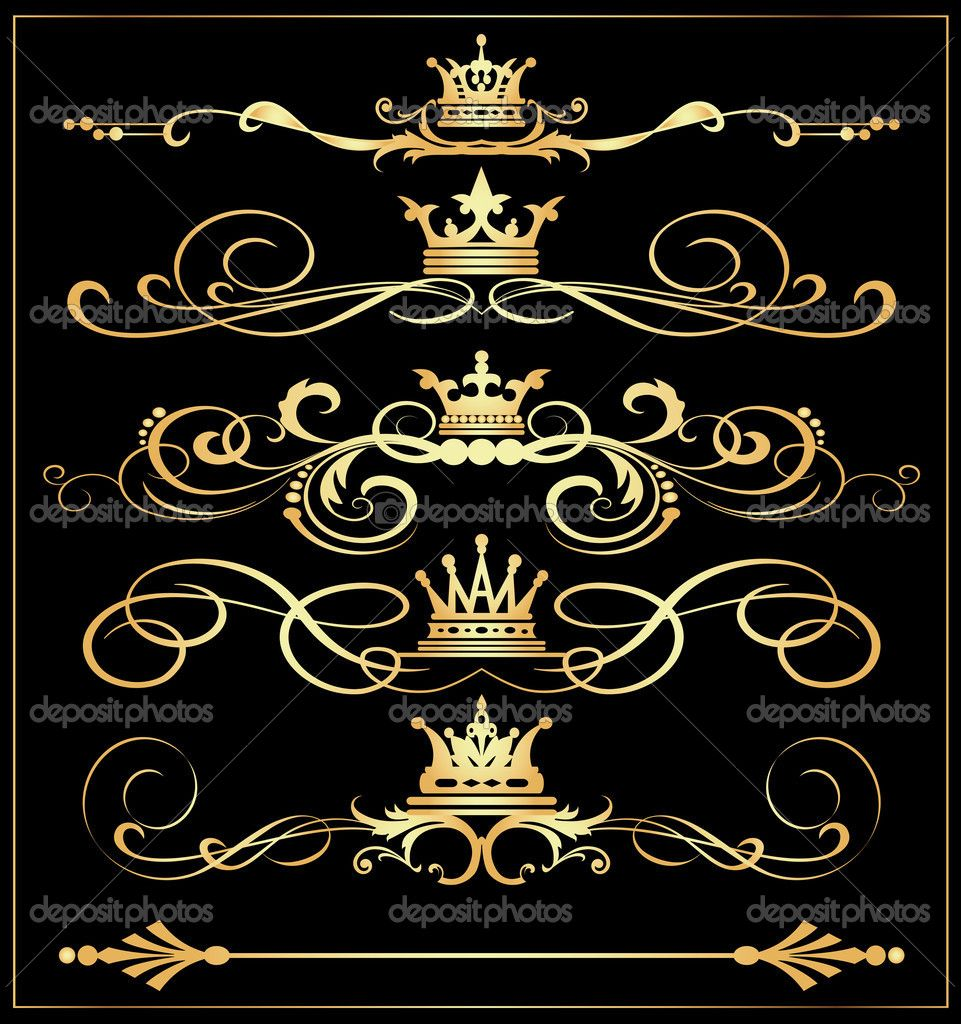 Elegant royal frame with crown vector colourbox - Depositphotos_23667417 Vector Set Victorian Scrolls And Crown