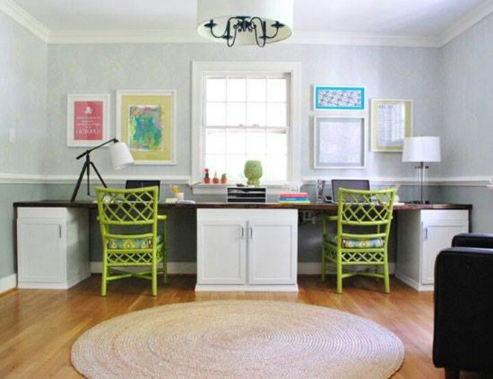 Furniture Two Person Desk With Storage Bright Green