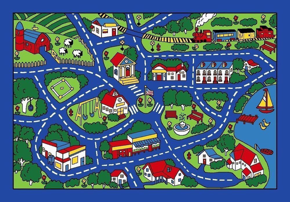 3x5 Rug Play Road Driving Time Street City Map Cars Kids City Fun Time Blue Arearugs Mapas Ilustrados Manualidades Infantiles Mapas