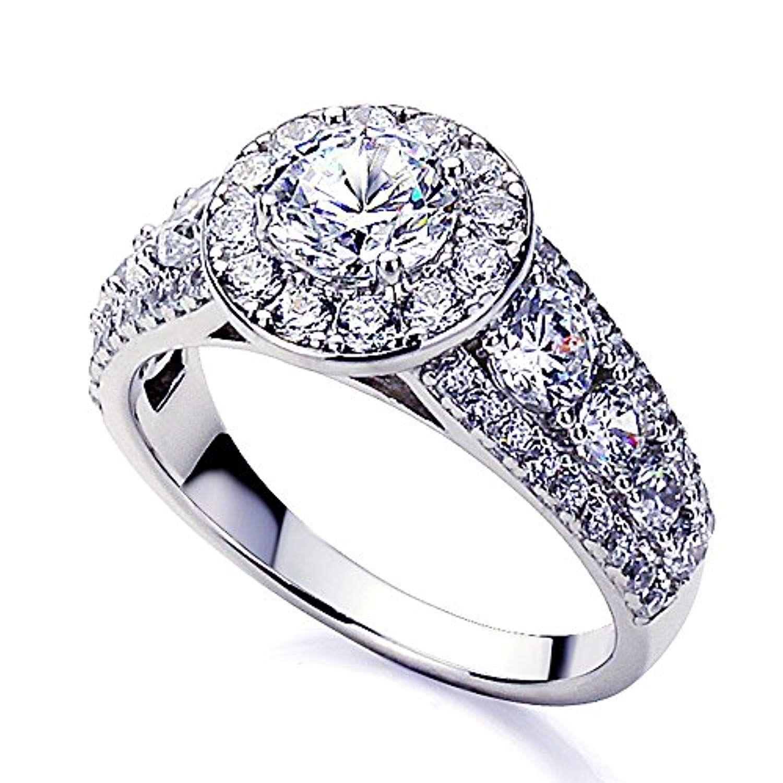 Platinum Plated Sterling Silver 1ct Round CZ Halo Wedding