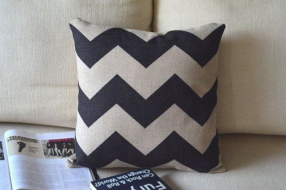 1 handmade linen cotton retro big  black zigzag  printed   pillow cove / cushion case 18 via Etsy