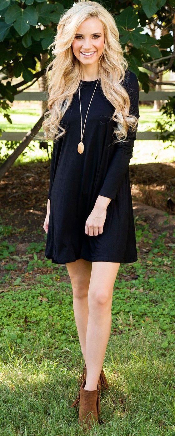 Black Plain Long Sleeve Casual Cotton Mini Dress Dresses