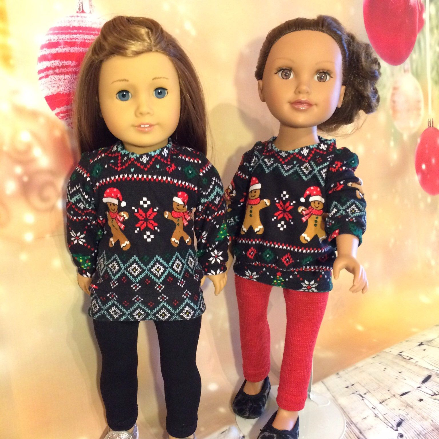 Gingerbread Tunic and Legging Outfit for 18 Inch Dolls #18inchdollsandclothes