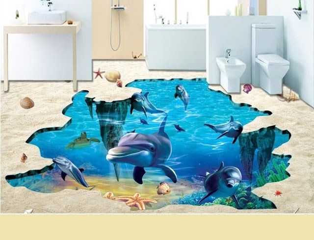 Realistic 3d Tile Floor Designs For Bathroom Floor Tile Design Floor Murals Floor Design