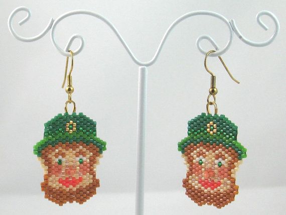 Beaded Leprechaun Earrings - St Patricks Day Jewelry