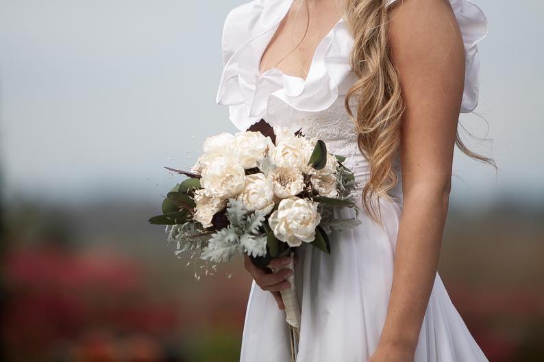 Fall Ivory Boho Bridal Bouquet #fallbridalbouquets