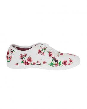 Red Floral Printed Flat Sneakers Shoes
