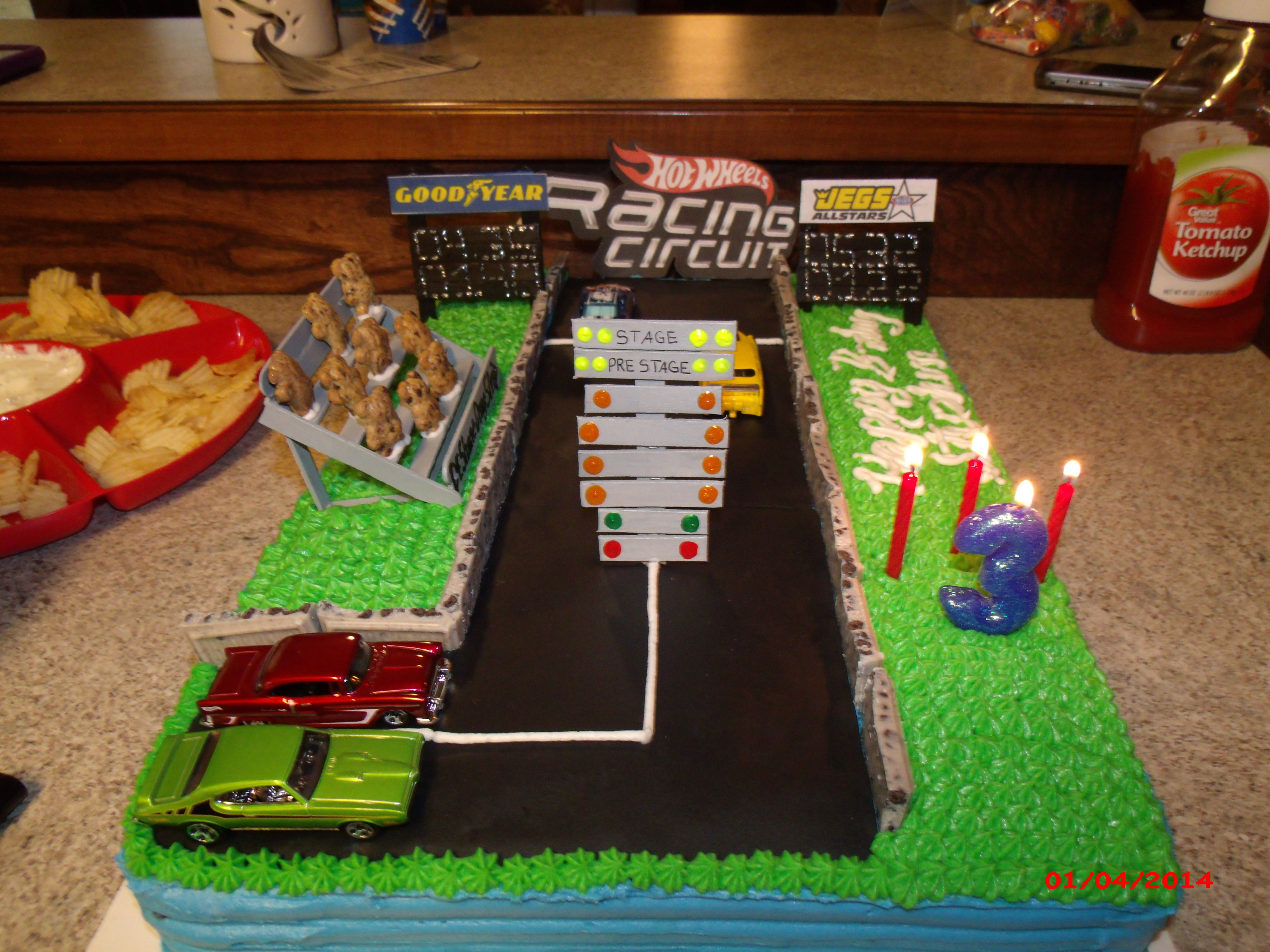 Homemade Hotwheels Drag Strip Cake Track Is Made From Black Wilton Sugar Sheets I