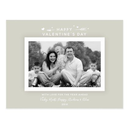 Modern Elegant Warm Gray ValentineS Day Photo Postcard  Minimal