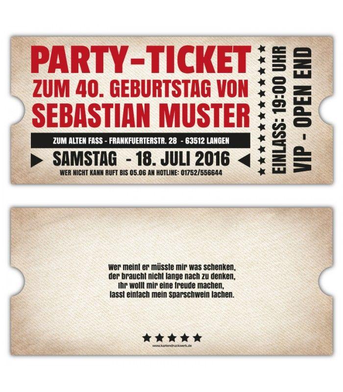 Einladungskarten Gestalten Einladungskartens 50: Vintage-Einadungskarten-Party-Einladung-ticket