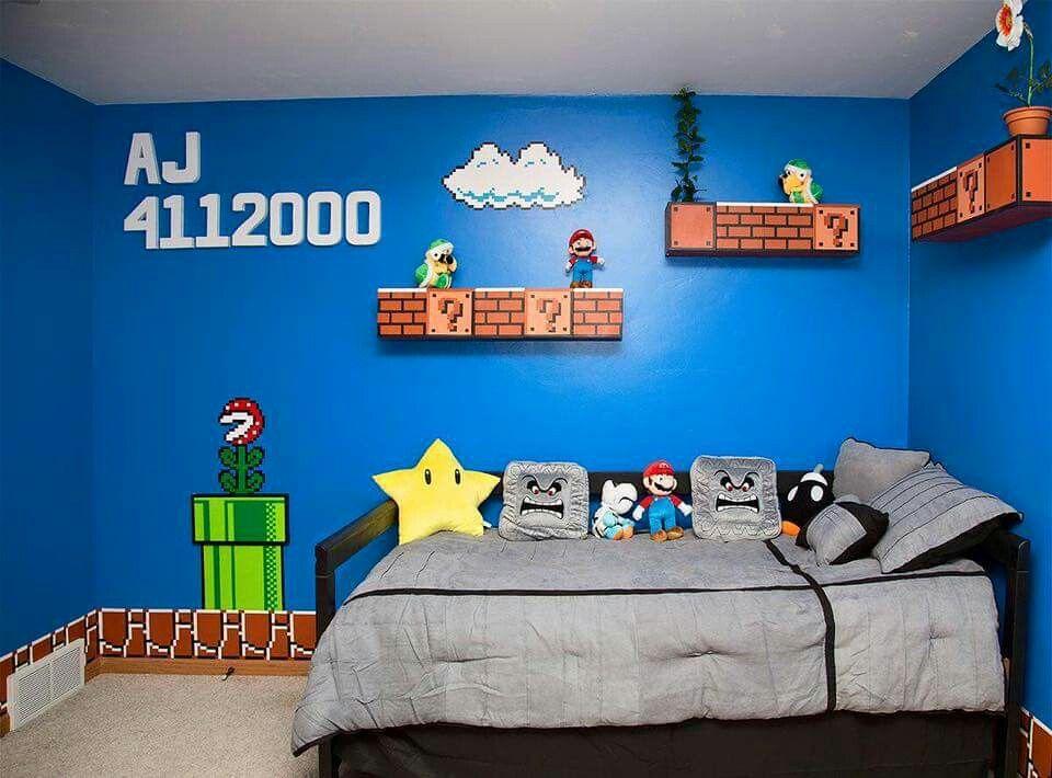 Mario bros bedroom for my son habitaci n gamer for Decoracion gamer