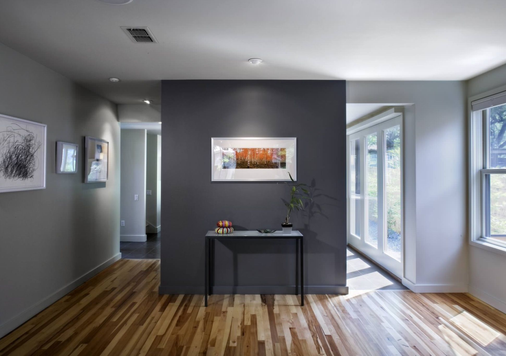 Dark Gray Accent Wall In A Light Gray Room Colors W Floor Grey