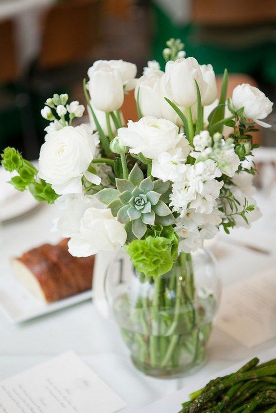 Succulents Tulips And Ranunculus White Wedding Centerpiece Http