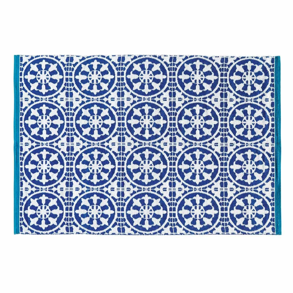 Outdoor-Teppich blau und weiß 140 x 200 cm | Outdoor teppich ...