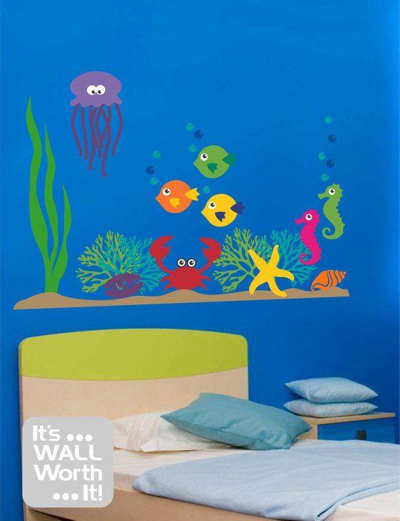 Giant Under the Sea Vinyl Wall Decal - Children\'s Bedroom or ...