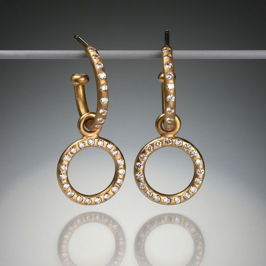 Make A Memorable Impact In These Stunning Handcrafted Reinstein Ross Earrings Featuring Two Parts Made Of 22k Apricot Gold And Diamonds