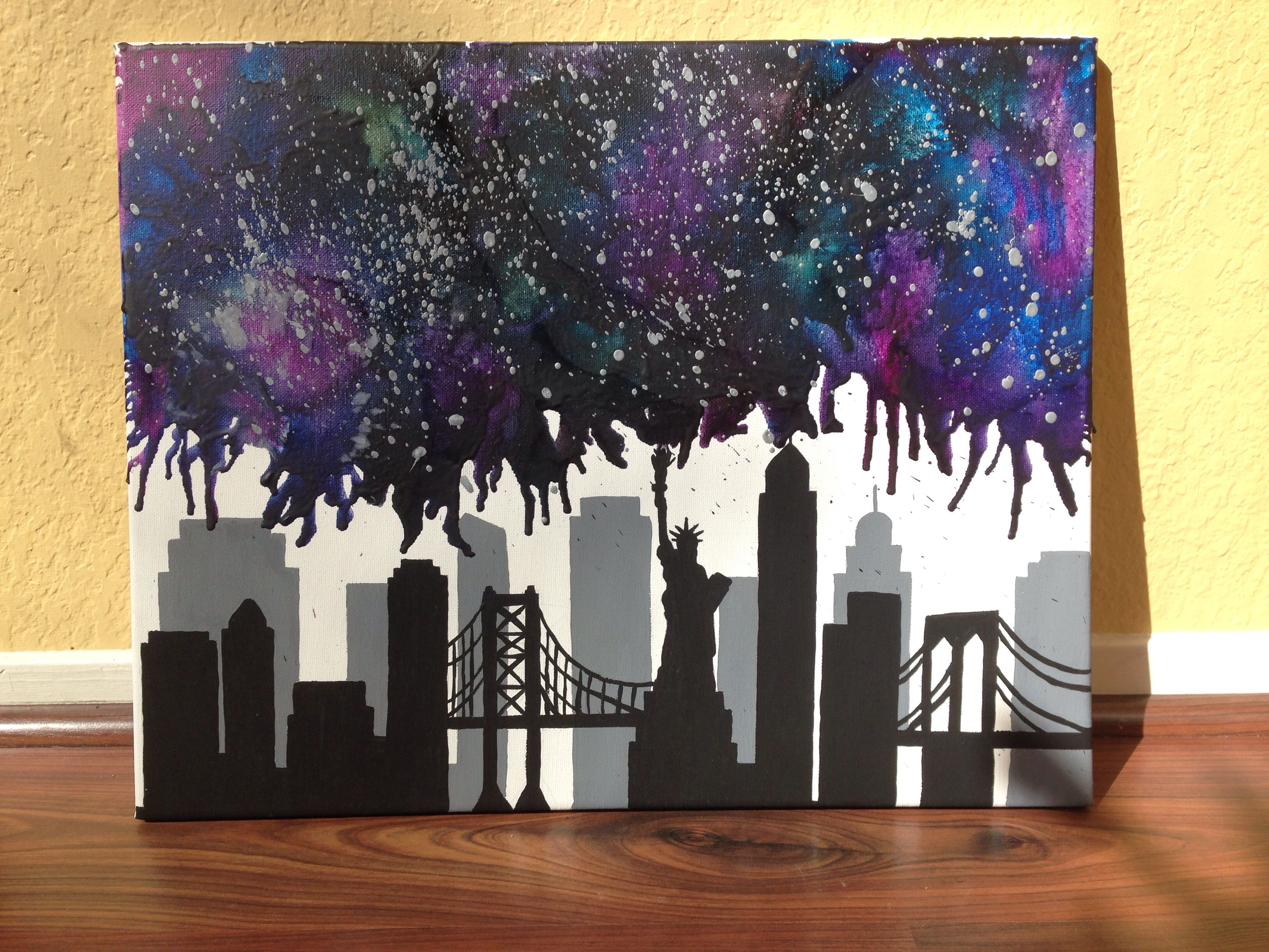 New york city nebula melted crayon art crayon gogh for How to make a melted crayon art canvas